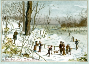 Advertising trade card showing people approaching a frozen river, with skaters in the background.