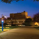 View of Wolfgram Memorial Library at night
