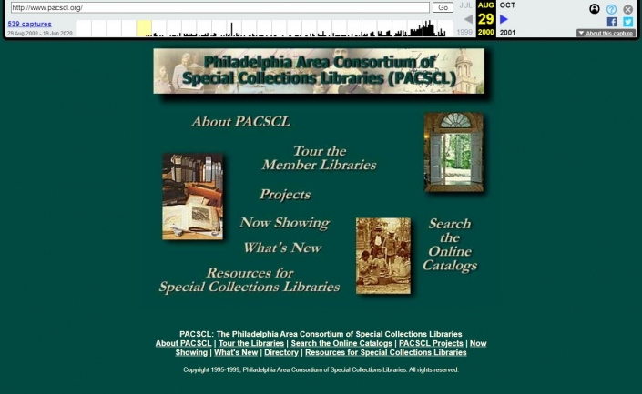 Screen capture of archived PACSCL homepage